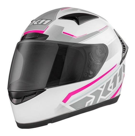 Capacete Feminino X11 Volt Branco Rosa Lançamento Moto