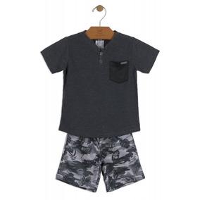 Conjunto Camiseta Malha E Bermuda Moletom Up Baby