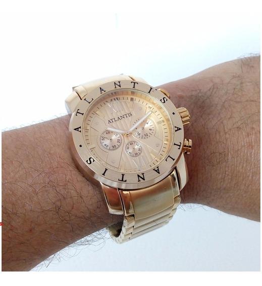 Relógio Masculino Atlantis A3310 Dourado Origin Tipo Bugary