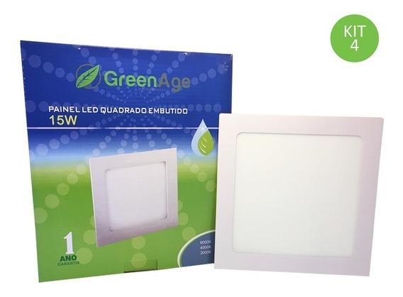 Plafon Painel Led Embutir 15w Branco Neutro Quadrado Kit 4