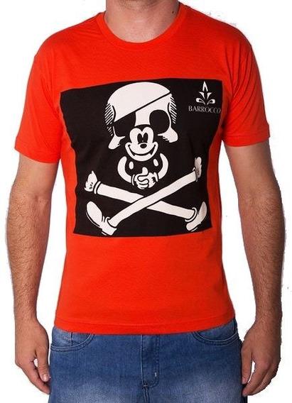 Camiseta Masculina Barrocco Caveira Mickey Laranja 100% Algodão