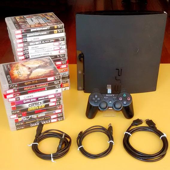 Ps3 Playstation 3 + Jogos + Controle Original | Oficial Sony