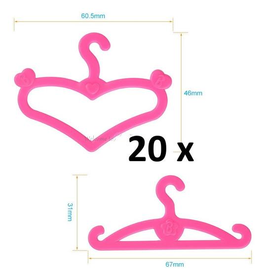 Kit 20 Cabides Luxo Pra Roupa Da Boneca Barbie * Promoção