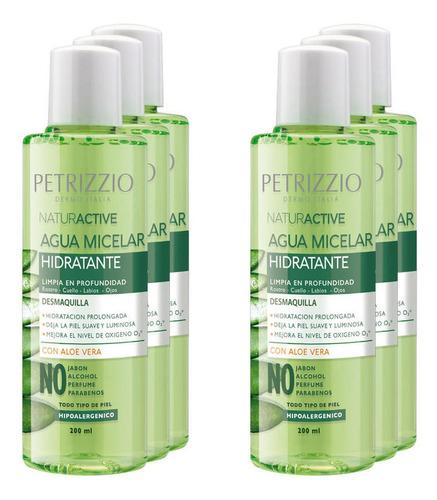 Pack 6 Aguas Micelares Aloe Vera Hidratante 200 Ml Petrizzio