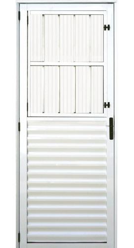 Porta Com Postigo De Alumínio Branco 2,10 X 0,90 Esquerda