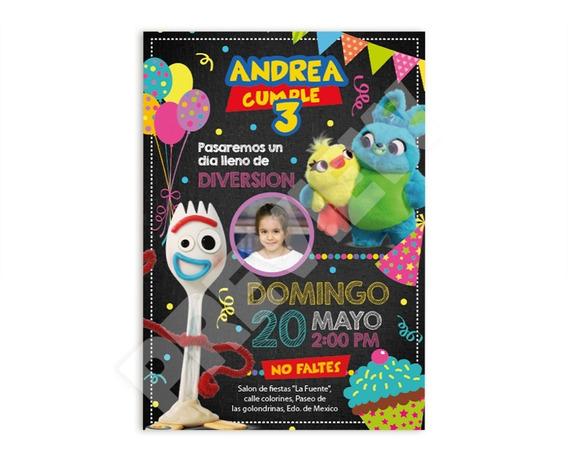 Invitacion Dig Toy Story 4 Para Fiesta Personalizada Forky