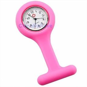Relógio De Lapela Em Silicone P/enfermeiras-rosa E Vermelho