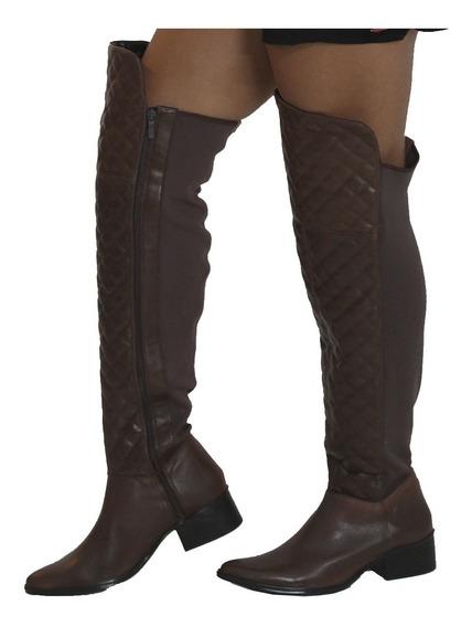 Bota Over The Knee De Couro Com Detalhe Em Metala-stella Zac