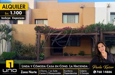 Linda Casa En Alquiler Condominio La Hacienda 1