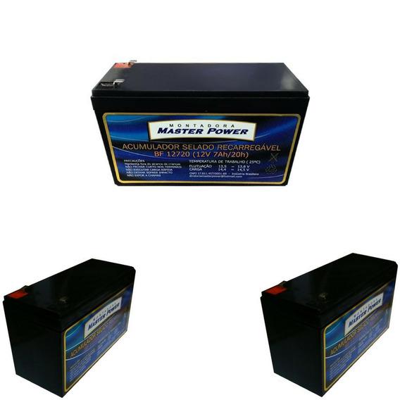 Kit 3 Bateria 12v 7ah Alarme Cerca Elétrica Frete Grátis