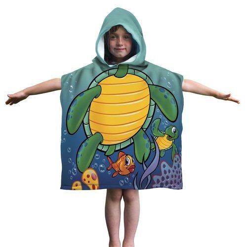 Imagen 1 de 4 de Kids Turtle Cotton Encapuchado Poncho Bathbeach Towel