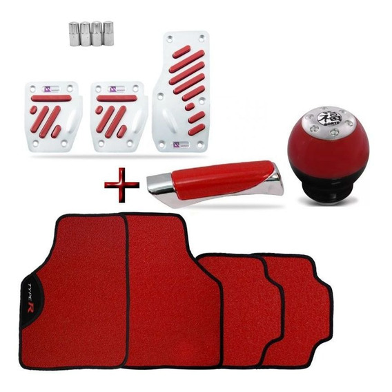 Kit Tuning Red Celta Tapete Pedaleira Manopla Bola De Cambio