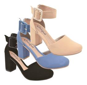 Sandalia Kit 03 Pares Feminina Salto Alto Grosso Sp2300