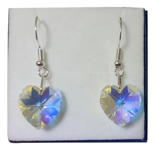 Brinco Cristal Swarovski Coração Aurora Boreal Prata 925