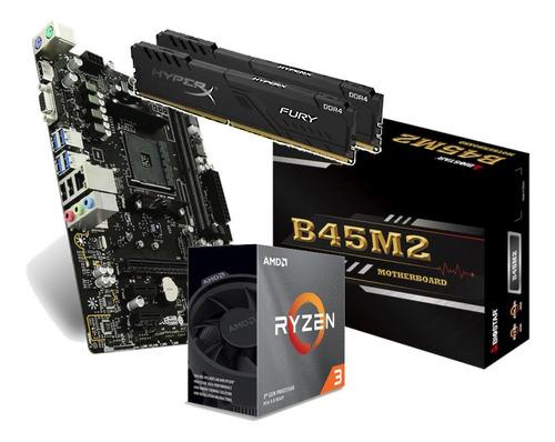 Kit Processador Amd Ryzen 3 3100 Biostar B350 Am4 Hx 2x 4gb