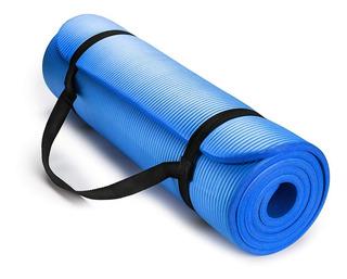 Colchonete Tapete Yoga Mat Azul Pilates 8mm Com Alça