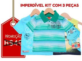 Kit 3 Camisetas Infantis - Tam-3 Black Friday 26% Off