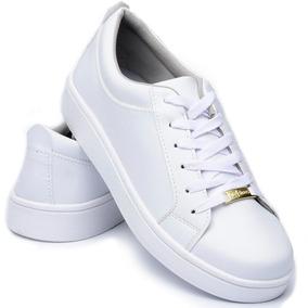 3473d9ed93c Tenis Sapatenis Femenino Branco Cr Shoes Estilo Vizzano