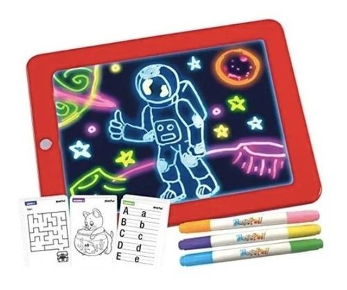 Imagen 1 de 6 de Bloc Pizarra De Dibujo Mágico Luz Led + Plumones Para Niños