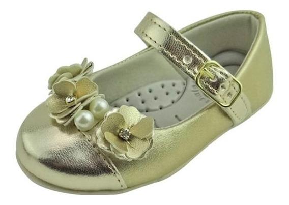 Sapato Boneca Baby Com Flor, Strass E Pérola - Dourado