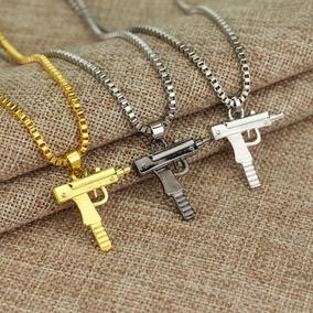 Colar + Pingente Arma Fogo Revolver Pistola Automática