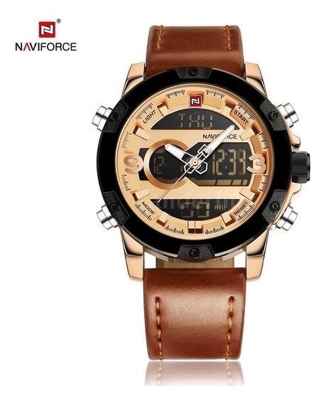 Relógio Masculino Analógico/digital Naviforce Dourado Gold