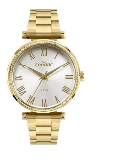 Relógio Fem Dourado Acompanha Colar E Brincos Condor