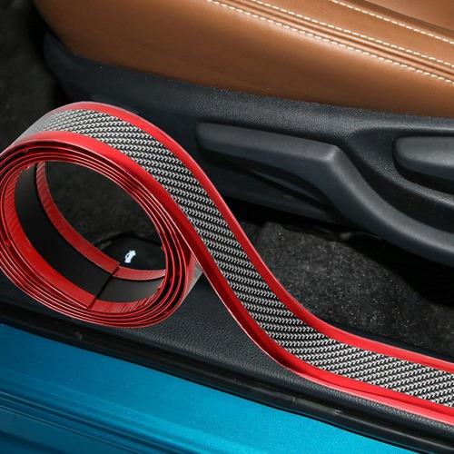 Moldura Protectora De Pisadera Zocalos Autos Roja 3cmxm R2