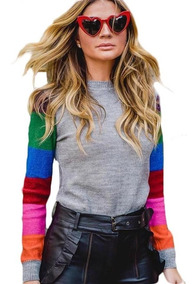 Blusa Tricot Manga Colorida Modelo Blogueira Panicat Linda