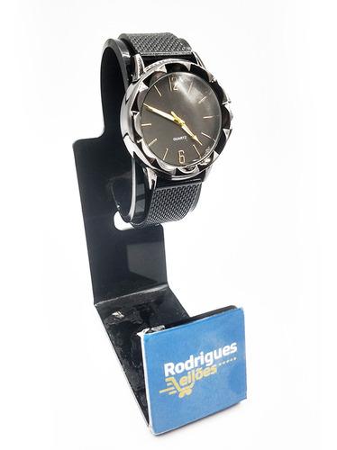 Relógio Feminino Pulso Efeito Metálico Preto Glamour Quartz