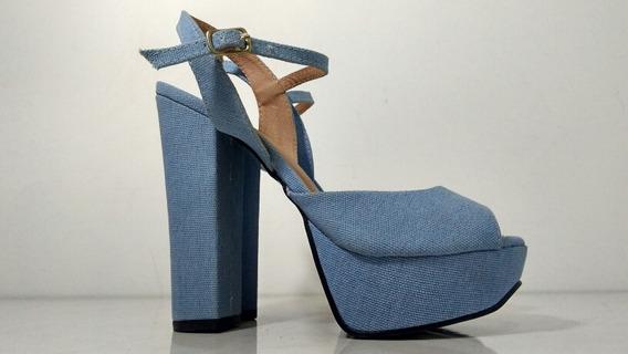 Sandalia Salto Grosso Azul