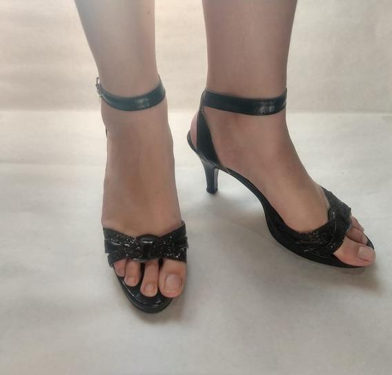 Zapatos De Fiesta Negros Con Brillantes, Taco De 9 Cm