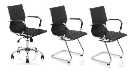 Kit Cadeiras Escritório, 1 Diretor + 2 Fixa Charles Eames