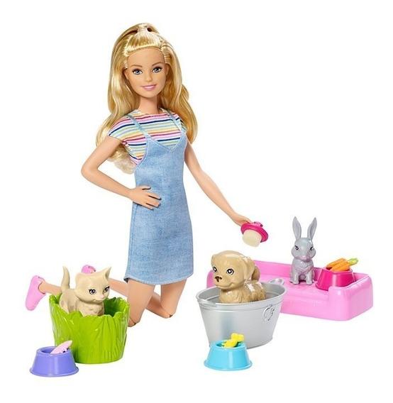 Nova Barbie Hora Do Banho Dos Pets Mattel
