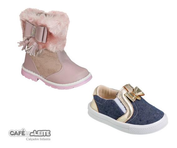 Kit Tênis Slipper+ Bota Infantil Menina (2 Pares)