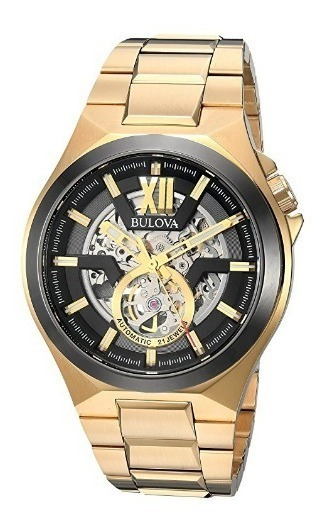 Relógio Masculino Bulova Dourado/preto Automático Skeleton