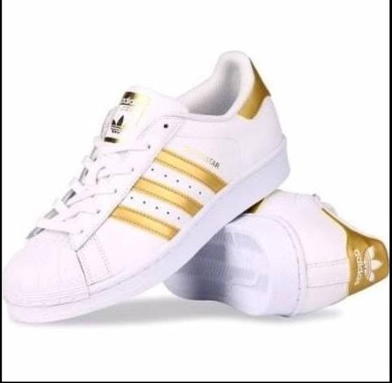 Tênis adidas Branco E Dourado