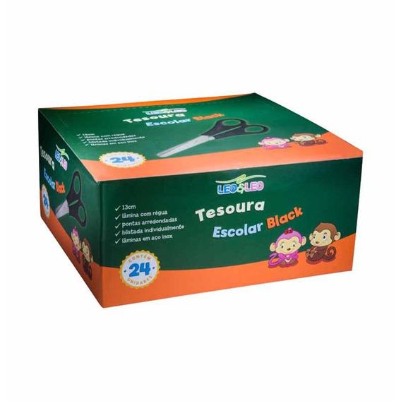 Tesoura Escolar Inox 13cm Cb Preto 4123 / 24ct / Leonora