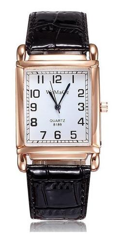 Relógio Retangular Rosê Rg009f Pulseira Preto Promoção!!!