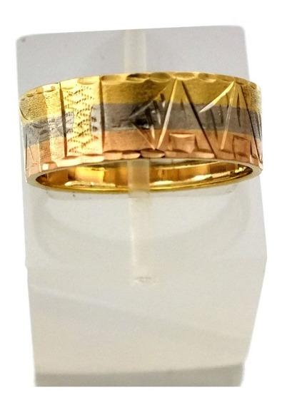 Anel Largo 3 Cores Egito Tricolor Ouro 18k Aro 23 J22429