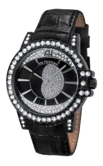 Relógio Feminino Ana Hickmann Todo Preto Couro C/nf Ah28160t