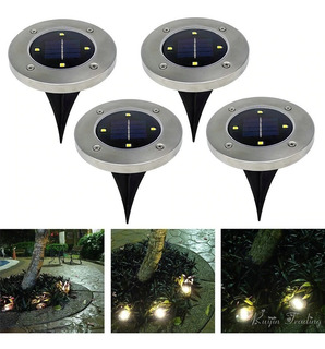 4 Lamparas Led Solares Jardin Tipo Disk Lights Recargables