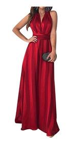 Vestido De Noche Fiesta Elegante Sin Mangas Maxi Largo Rojo