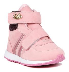 Tênis Cano Alto Infantil Para Bebê Menina - Rosa