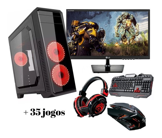 Pc Completo Gamer Monitor 19,5¨lg Wifi 8gb Brinde 35 Jogos