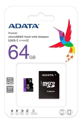 Memoria Micro Sd 64gb Clase 10 Adata Original Somos Tienda