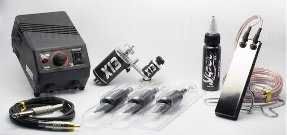 Kit Tatuagem Máquina X13+ Fonte+ Cabo+ Tinta+ Agulhas C Grip