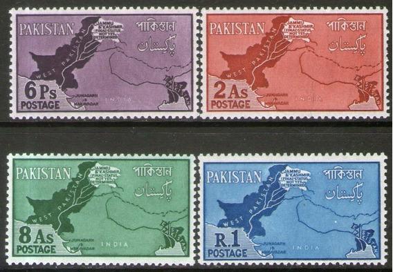 Pakistán 4 Sellos Nuevos Disputa Fronteriza Con India 1960
