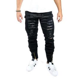 Calça Masculina Jeans Sarja Skinny Slim Rasgada Com Zíper