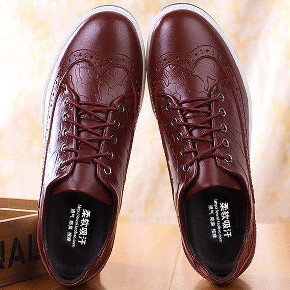 Homens Couro Vintage Padrão Retro Laço Casual Brogue Sapatos